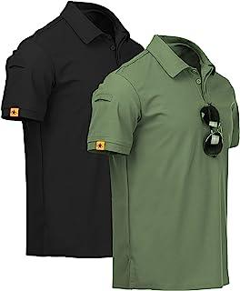 ZITY Mens Polo Shirt Cool Quick-Dry Sweat-Wicking Short Sleeve Sports Golf Tennis T-Shirt 2 Pack GreenBlack-L
