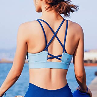 JCXOZ Sports Underwear Running Shock-Proof Gathering Stereotype Yoga Clothing Sports Vest Fitness Bra for Dance Yoga Fitness (Color : Blue, Size : Xs)