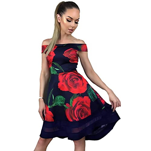 0bd23bfdc3 Re Tech UK Womens Floral Bardot Off Shoulder Dip Hem Dress Sleeveless Skater  Mesh Insert Evening