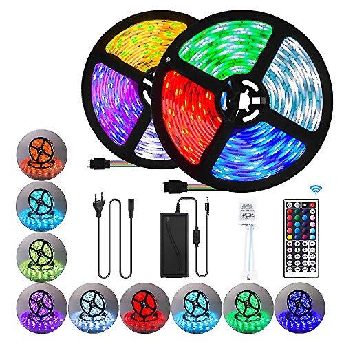 Tiras Luces LED con Control Remoto IR 24 Teclas, 5050 Tiras Luz LED que Cambian Color, Juego Completo Luces LED para Dormitorio, TV, Cocina, Decoración Fiestas, Luces Ambiente para Hogar,A24 23