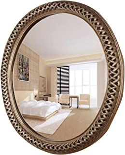 浴室用化粧鏡 洋風ドレッシングミラー 壁掛け式ラウンドバスルームミラー バスルームホテル装飾用ミラー ウォッシュメイクアップウォッシュミラー 女性ラブビューティーギフト (Color : Silver)