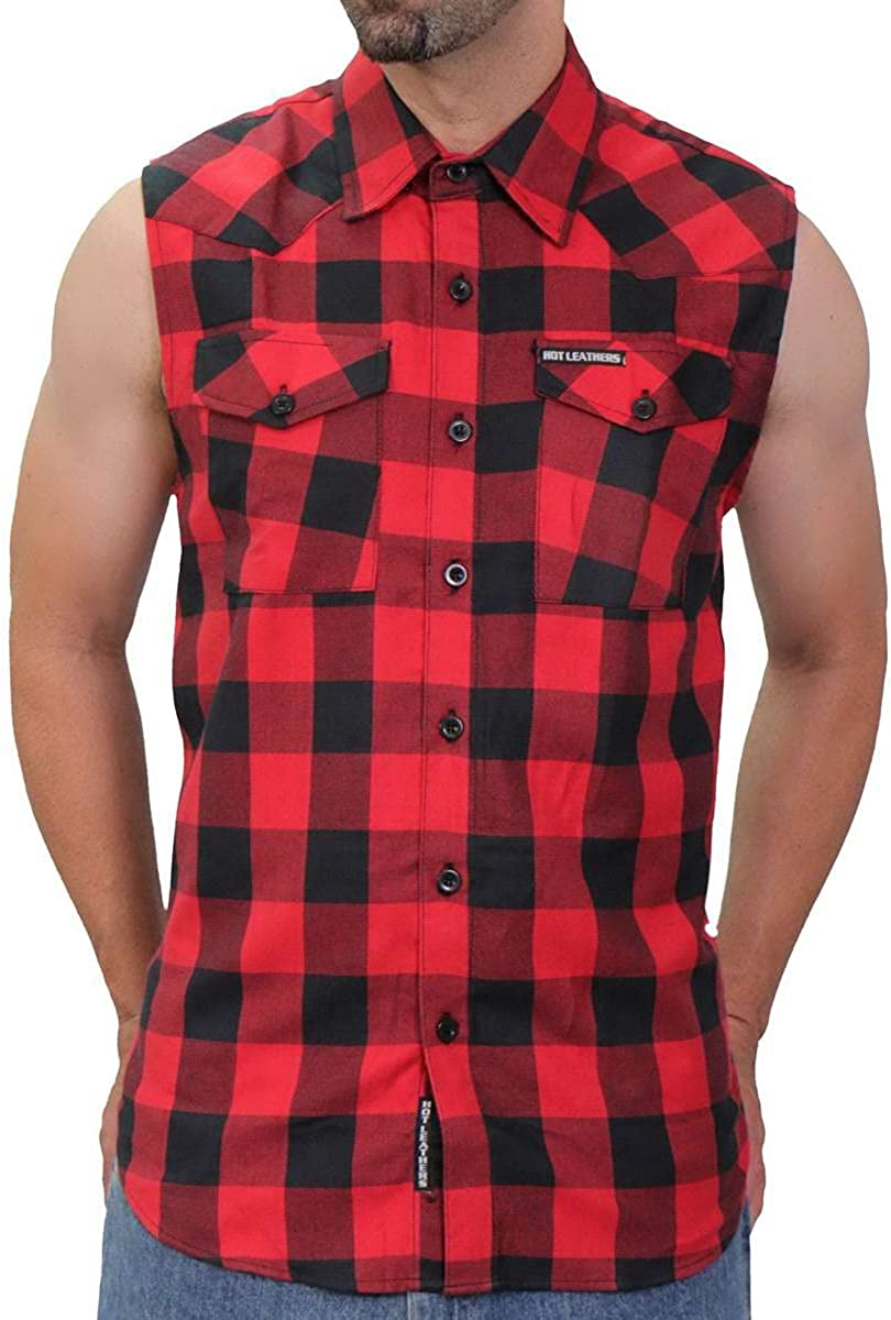 Hot Leathers FLM5001 Men's Black and Red Sleeveless Cotton Flannel Shirt