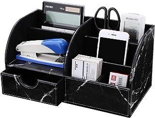 KINGOM 7 Storage Compartments Multifunctional PU Leather Office Desk Organizer,Desktop Stationery Storage Box Collection, ...