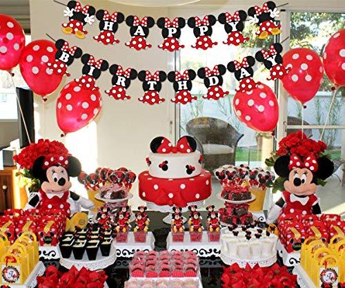 JOYMEMO Fiesta de cumpleaños de Minnie Mouse Rojo y Negro para Fiesta de cumpleaños Decoraciones de Bienvenida al bebé… 2
