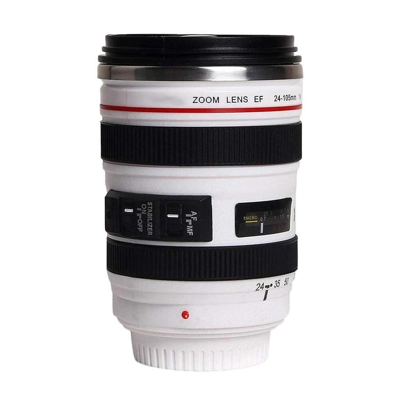 周術期怪しい発音Saikogoods ファッション1PCS耐久DIYステンレス鋼真空フラスコ旅行コーヒーマグカップ水コーヒーティーカメラレンズカップのふたギフト付き 白