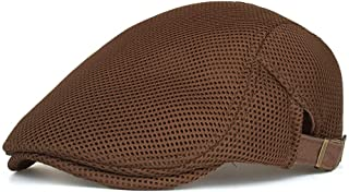 Men Outdoor Summer Casual Thin And Light Beret Hat Adjustable Breathable Mesh Newspaper Cap Hats & Caps (Color : Bronze)