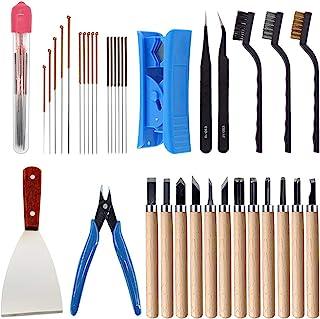 جعبه ابزار لوازم جانبی پرینتر سه بعدی HAWKUNG 35 Pieces ، سوزن های تمیز کننده 7 اندازه ، موچین ، انبر ، سوهان ، برس تمیز کننده ، چاقوها برای تمیز کردن ، تمیز کردن ، پایان دادن به چاپ 3D