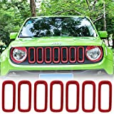 Yoursme Front Grille Inserts Mesh Red ABS Grill Guard Cover Trim Fit for Jeep Renegade 2015 2016 2017 2018 7pcs