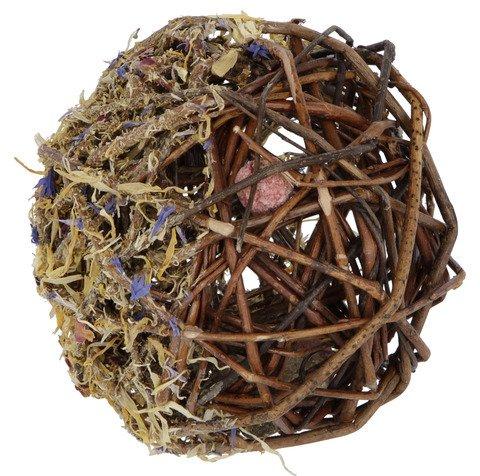 """Kerbl Nagersnack """"Weidenball"""" mit Blüten und 8 Minisnacks, Snack für Hasen, Meerschweinchen und co, Durchmesser 10 cm"""