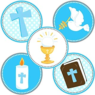 Boy First Holy Communion Party Favor Stickers in Blue - Christening Baptism Labels - Set of 50