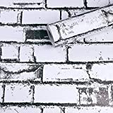 PoetryHome Self Adhesive Vinyl Black White Brick Contact Paper for Kitchen Backsplash Bathroom Walls Removable Peel and Stick Brick Wallpaper 17.7x117 Inches
