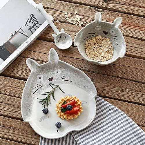 FSHB Creative Ceramic Totoro Bowl Platos Platos Pintados a Mano Bandeja de Postre de Dibujos Animados Cuchara vajilla, Placa