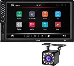 Double Din 7 Inch Car FM Radio MP5 Player, 2 Din Touch Screen in-Dash Stereo Car Audio System Autoradio with Bluetooth Hand Free, Rear-View Camera, Phone MirrorLink Interconnection