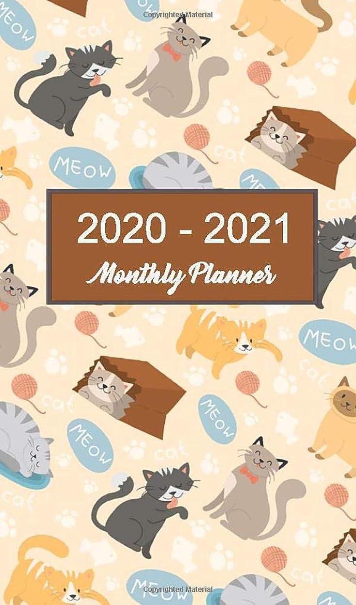 微妙火薬レディ2020 - 2021 Monthly Planner: Cat Wall Pocket Calendar