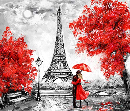DIY 5D Diamond Painting Kits for Adults,Eiffel Tower Full Drill Crystal Rhinestone Embroidery for Home Wall Decor(16X12in)
