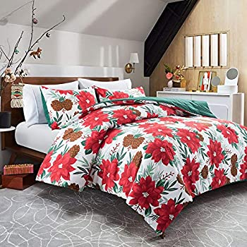 Lifeety 3 Piece Comforter Set with 2 Shams Christmas Bedding Set King Size Red Flower and Pine Cone Pattern