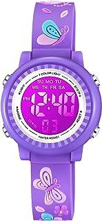 Venhoo Kids Watches for Girls 3D Cartoon Waterproof 7 Color Digital Child Toddler Wrist Watch for Girl Kids-Purple Butterfly