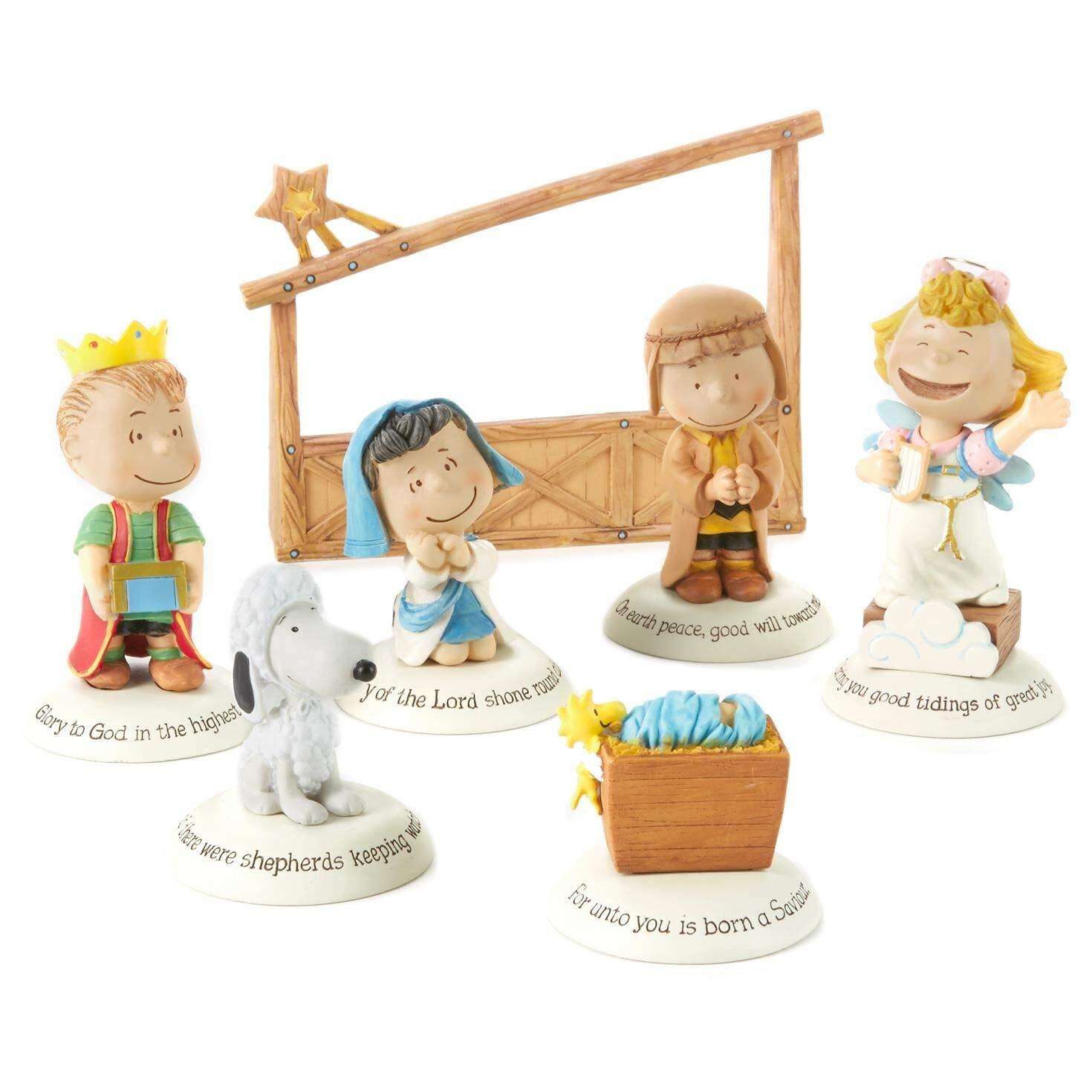 Image of 7 Piece Hallmark Christmas Peanuts Nativity Set