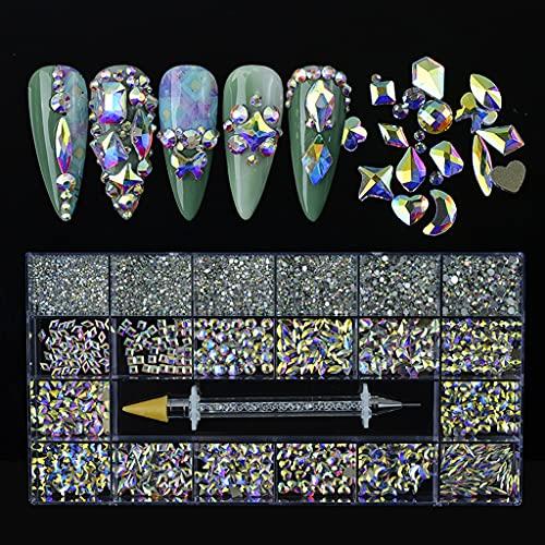 TEBI 8620pcs/Box Multi Formas Rhinestones Cristal Flatback Profesional Nail Art Decoraciones DIY Uñas DIY Artesanía con Rhinestone Recogedor