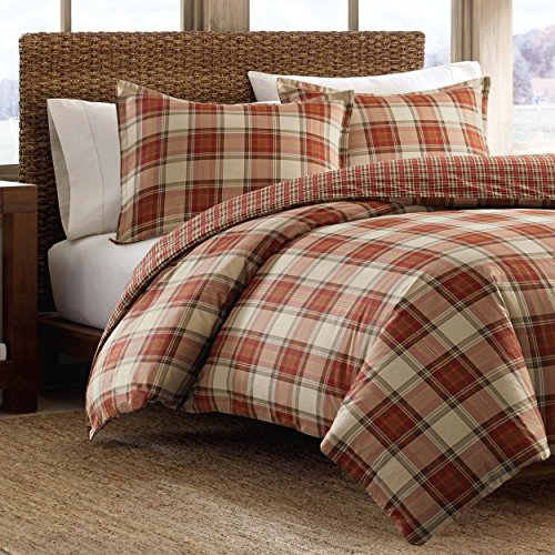 Eddie Bauer Edgewood Collection Plush Super Soft Micro-Suede Reversible Flannel Duvet Cover Matching Shams, 3-Piece Set, Pre-Shrunk & Brushed For Extra Softness, King, Red
