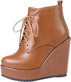 KemeKiss Women Wedge Heel Ankle Boots Platform Lace Up