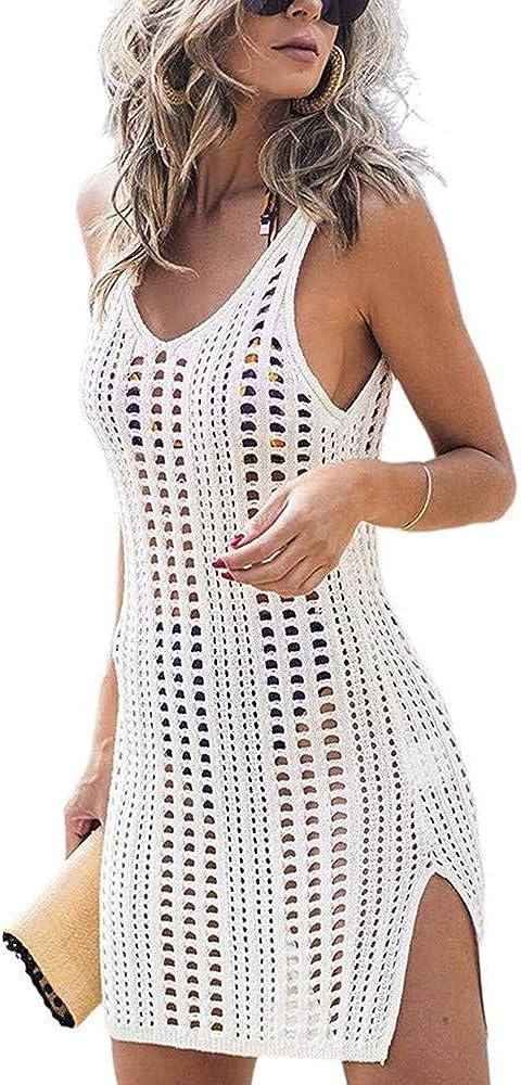 Sulozom Women Swimsuits Cover Ups Crochet Bathing Suit Tassel Bikini Coverup Beach Swimwear