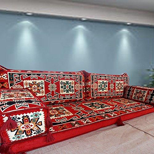 Muebles Suelo Majlis, hecho a mano sofá para suelo, árabe, Árabe Jalsa, suelo asiento sofá, cojines, Oriental, sala de estar decoración, Kilim de suelo asiento, pipa de barra muebles sofá conjunto