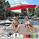 Sonnenschirm Ø 350cm in Farbwahl - mit Handkurbel zum Aufspannen,Wasserabweisender Schirmbezug, inkl. Ständer - Ampelschirm, Gartenschirm, Kurbelschirm, Marktschirm, Sonnenschutz für Balkon, Garten