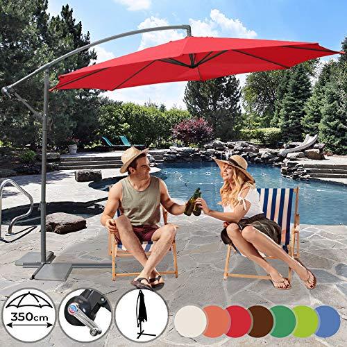 MIADOMODO Sonnenschirm rote Garten Durchmesser 3,5m