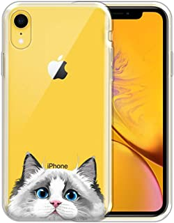 FINCIBO Case Compatible with Apple iPhone XR 6.1 inch, Clear Transparent TPU Silicone Protector Case Cover Soft Gel Skin for iPhone XR - White Silver Point Ragdoll Cat