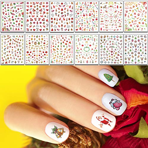 TailaiMei Christmas Nail Art Decals Stickers, Self-Adhesive Nail Art Decorations, Design for Santa Claus Snowflake Snowman (1000Pcs, 12Sheets)