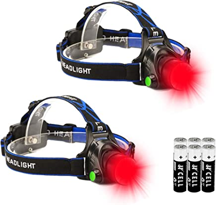 Red LED Headlamp, Zoomable Tactical High Lumen Headlamp Long Range Red Beam For Hog Coyote Varmint Hunting, 2 Pack