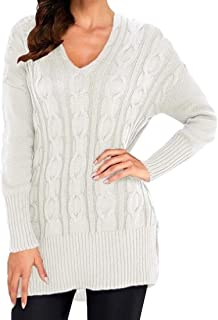 Womens Jumper Pullover V Neck Elasticity Long Sleeve Knitted Winter Wool Long Sweater Tops