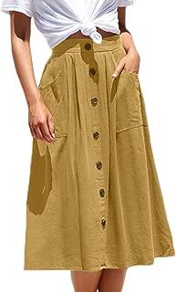 Womens Casual High Waist Flared A-line Skirt Pleated Midi Skirt with Pocket
