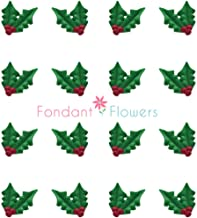 Set of 36 Royal Icing Edible Holly with Berries Christmas Cupcake Flowers Toppers Red/Green by Fondant Flowers