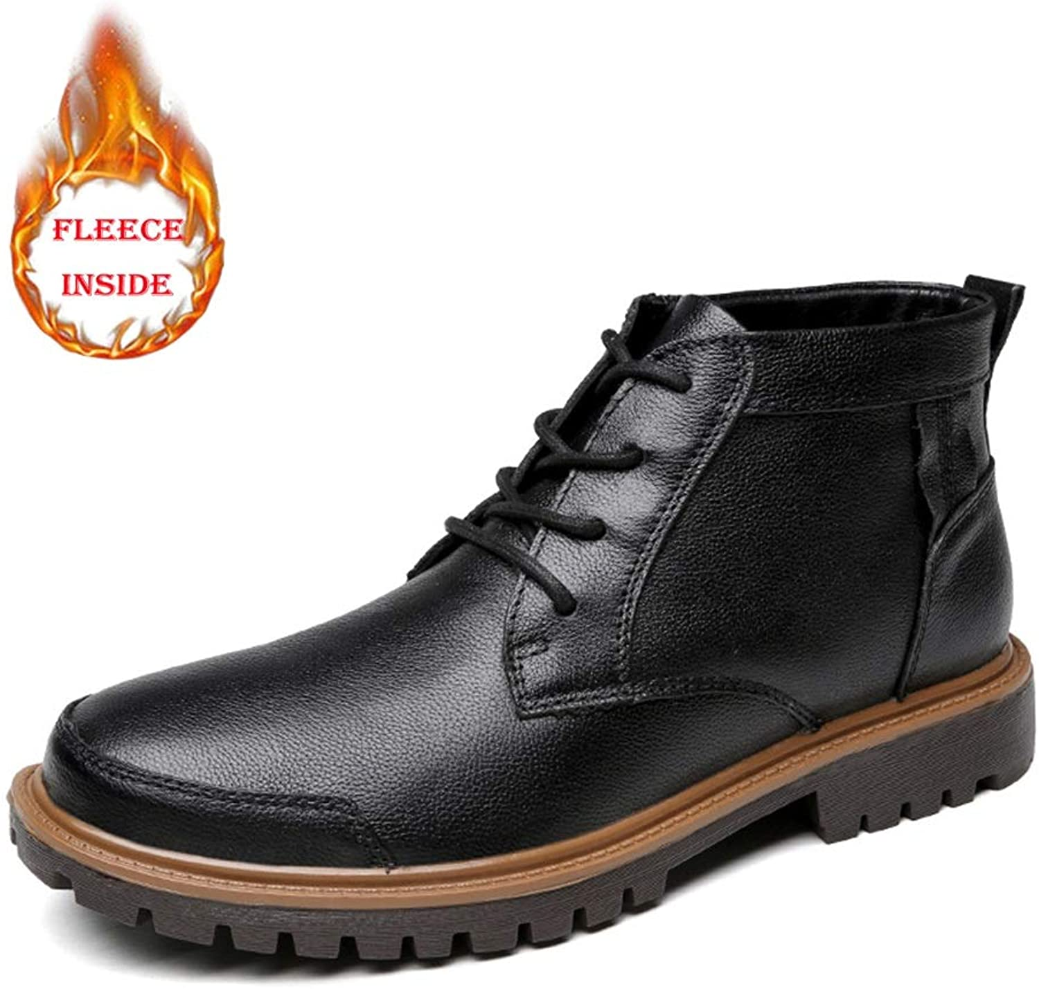 Men's Martin Boots, Fashion Casual Lace-up High Top Fleece Inside Outdoor shoes(Conventional Optional)