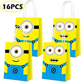 Party Favor Bags for Minion Party Supplies, Party Gift Goody Treat Candy Bags for Minion Party Favors Decor Birthday Party Decor for Minion Party Girls Kids Birthday Decorations - 16 PCS