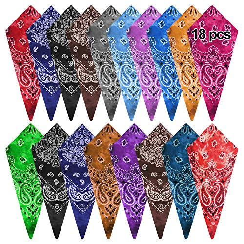 FEPITO 18pcs Cotton Tie Dye Bandana Paisley Bandanas Assorted Cowboy Handkerchiefs for Men and Women (15 Colors)