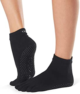 toesox Grip Full Toe Ankle Black Medium 25~27cm