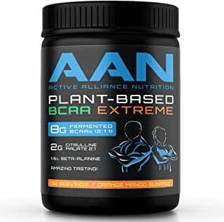 AAN Plant-Based BCAAs - 8g Vegan BCAAs per Serving (30 Servings, Orange Mango)