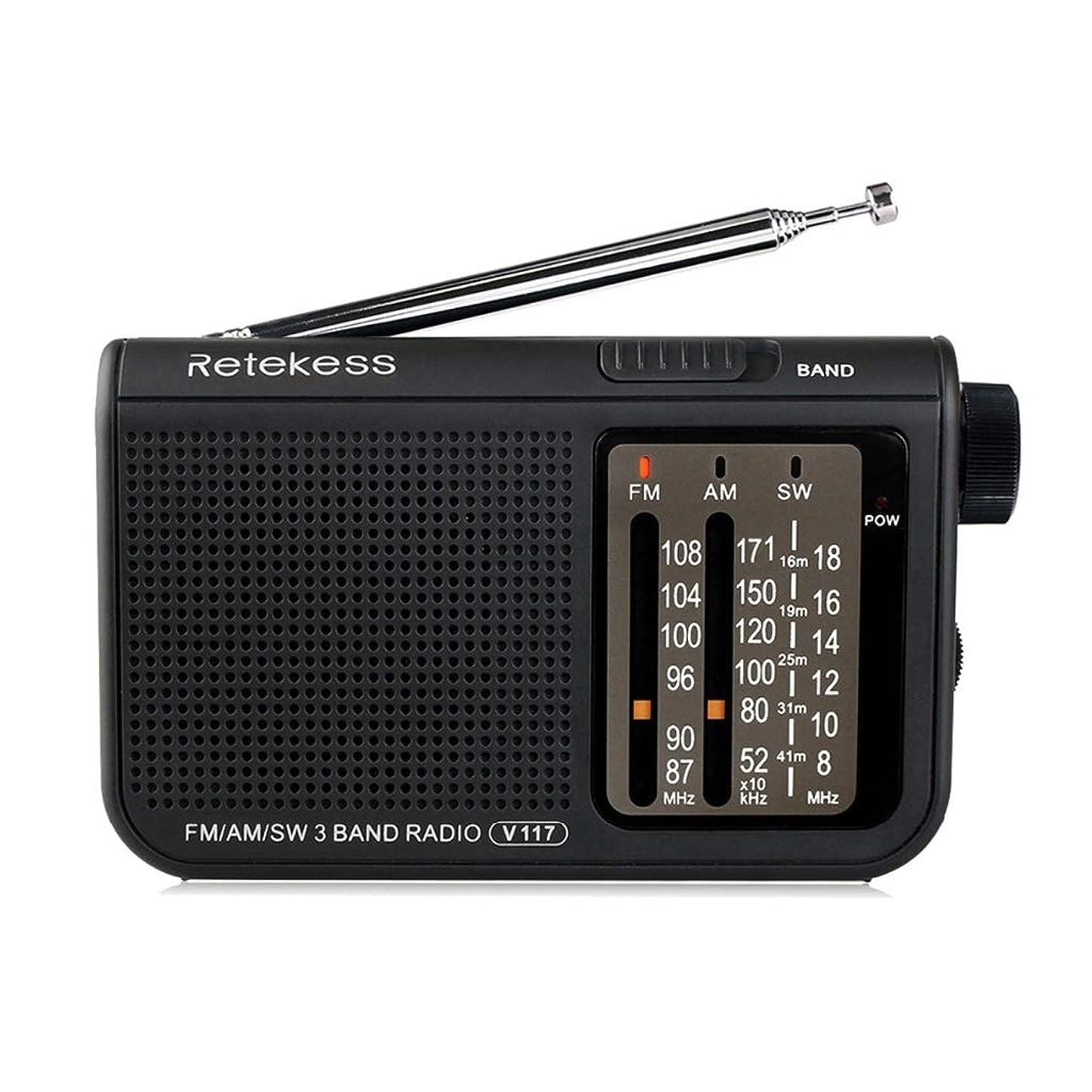 五流星中絶FM/AM/SWラジオマルチバンド携帯ラジオ受信機イヤホン出力ブラック (Color : Black)