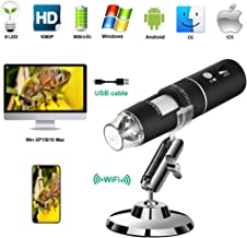 Wireless Digital Microscope PFC Optics 50X-1000X 1080P Handheld Portable Mini WiFi USB Microscope Camera with 8 LED lights for iPhone/iPad/Smartphone/Tablet/PC