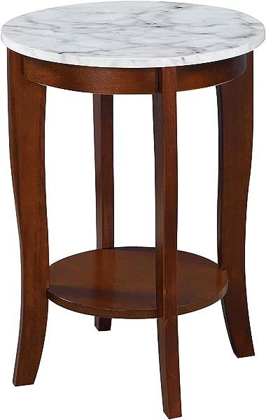 便利概念 7106259WMES 美国传统圆形端桌白色人造大理石浓缩咖啡