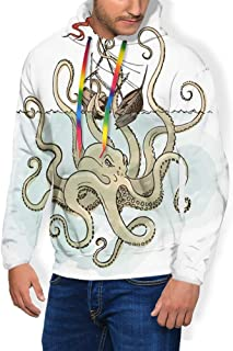 Men's Hoodies Sweatershirt, Octopus Sinking The Pirate Ships Greek Myth Fish Culture Cartoon Artwork Image,5 Size