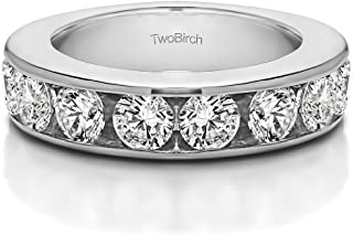 14k White Gold Diamond 1.5 CT 10 Stone Open Ended Channel Set Ring (Size 3 To 15 1/4 Size Interval)