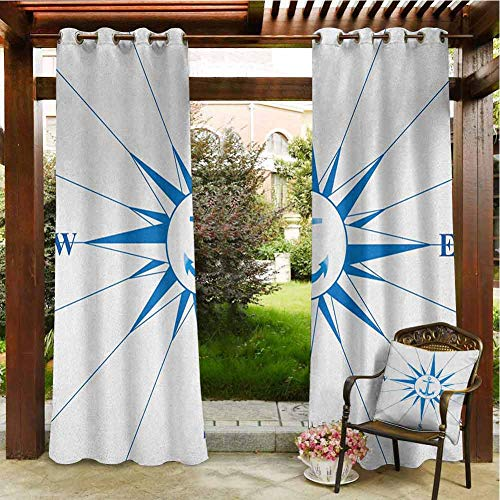Compass Outdoor Natural Gazebo Curtain Porch Balcony Pergola Lanai Tent Gazebo Window 55'x72' Royal Blue Windrose with an Anchor in The Middle Discovery on The Sea Sailing on Royal Blue