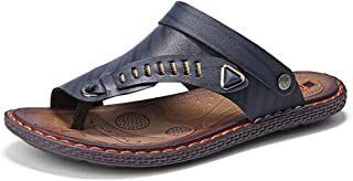 Xujw-shoes, Mens Flip Flops Slippers Thong Sandals Beach Fashion Shoes for Men Summer Microfiber Leather Anti Slip Summer Metaldecor Dual Purpose Lightweight