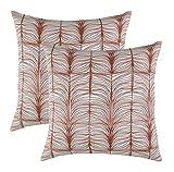 TreeWool Dekorativer Kissenbezug (45 x 45 cm, Rostbraun) Matrix Design 100% Supreme Weiche Baumwolle...