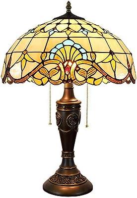 QGL-HQ Tiffany Lampe de Table Baroque 16 Pouces en Verre teinté Abat-Jour (40cm) Salon Lampe Chambre Chevet Lampe d'intérieur Tiffany Lampes de Table