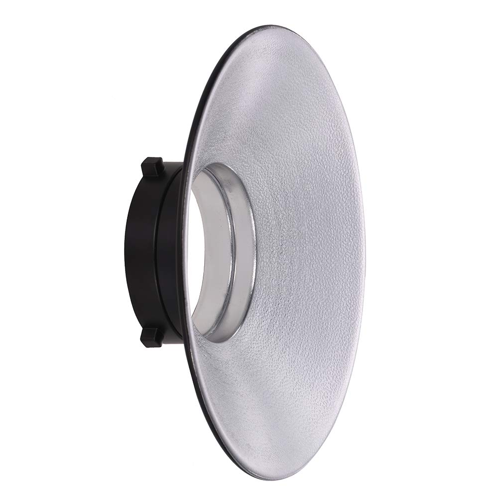 Docooler 120 Degree Wide-Angle Flash Reflector Bowens Mount Diffuser Dish Aluminium Alloy Shooting Accessories for Photography Studio Strobe Light